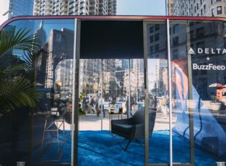 Delta Air Lines sets up street 'cabins' as an escape for busy New Yorkers