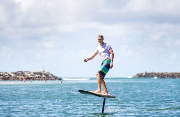 Float above the water on new electric hydrofoil surfboard